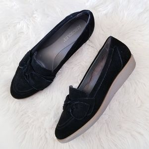 Aerosoles suede leather bow loafer flats